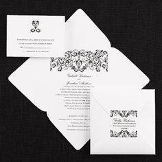 Affordably Inviting White Square Self Mailer with Damask Design A damask design printed in the same ink color you select for your wording highlights this bright white self mailer. No need for a separate reception card! Your reception information is printed on the bottom inside flap in the addtional wording area of the invitation. Your return address is printed on the included personalized seal. Damask theme is repeated on the back of the mailer above the Guest Address area. Damask Wedding, Reception Card, Product Offering, Return Address, Ink Color, Big Day, Separate, The Selection, Seal