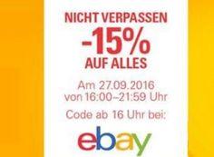 Knaller: 15 Prozent auf alles bei Ebay von 16 bis 22 Uhr https://www.discountfan.de/artikel/technik_und_haushalt/knaller-15-prozent-auf-alles-bei-ebay-von-16-bis-22-uhr.php Für sechs Stunden gibt es heute bei Ebay einen Rabatt von 15 Prozent auf alles, bis auf Edelmetalle. Der Gutschein-Code wird zum Start der Aktion um 16 Uhr veröffentlicht. Um an den Ebay-Rabatt von 15 Prozent auf (fast) alles zu kommen, muss der Kauf am heutigen 27. September 2016 zwischen 16 u... #Eb