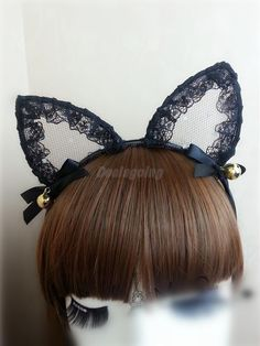 Sexy Lace Cat Ear Headbands For Womens Party Head Bezel Bell Girls Ear Cat Hairband Headwear Hair Accessories Elegant Appearance Apparel Accessories