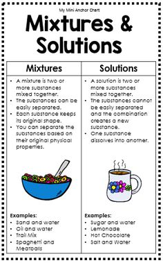 Mixtures and Solutions Anchor Charts. This anchor chart helps your students remember characteristics and examples of Mixtures and Solutions. Use this resource to help teach Science TEK 4.5C.