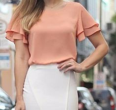 Dragan Pulse V-Neck Bell-Sleeve Chiffon Blouse USD Pulse Blouses & Shirts. Buy women Blouse is now available in the color Red. Blouse And Skirt, Blouse Dress, Blouse Styles, Blouse Designs, Work Tops, Shirt Blouses, Blouses For Women, Casual Outfits, Womens Fashion