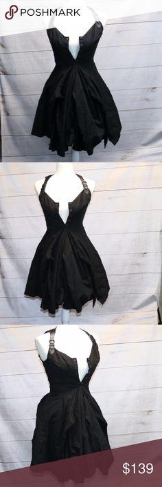 AllSaints Black Amikiri Dress - 8 UK EUC AllSaints Black AMIKIRI dress Size 8 UK /6 US Front button with buckle straps Purchased at Spitafields Market Has pockets 100% Cotton All Saints Dresses