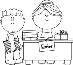 Back to School Clipart Black and White Teachers and Students and