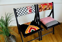 great tutorial on easy upholstery for folding chair. Inspired by anthropologie via apartment therapy. tutorial available.