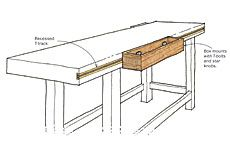 Sliding box keeps workbench accessories within reach - Fine Woodworking