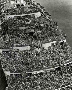 Crowded ship bringing American troops back to New York after V-E Day, 1945