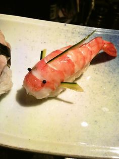 Japanese Koi Fish (Carp) Shaped Shrimp Sushi. @Fritillaria - I don't enjoy the shrimp that much but I would enjoy eating this one's little face!