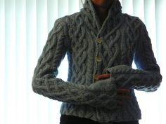 Fireside Sweater Knitting pattern by Amber Allison Aran Knitting Patterns, Cable Knitting, Knit Patterns, Hand Knitting, Cable Cardigan, Cardigan Pattern, Knitting Projects, Knitwear, Knit Crochet