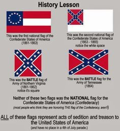 These flags also celebrate a cause that fought to maintain the oppressive system of slavery, keeping 4 million people in chains.  Yes, these flags are about heritage, a heritage of racial hatred and white supremacy.  They have no place in our free society except as a reminder of the sins of our past (and present).