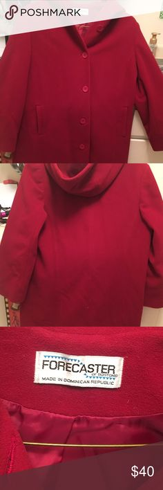 Forecaster of Boston wool coat - EUC Forecaster of Boston gorgeous red wool coat perfect for upcoming holiday and winter season - button down with hood to keep you warm- no rips stains or tears - offers welcomed Jackets & Coats Trench Coats