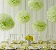 mint table and poms