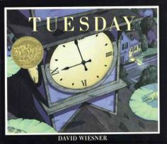 1992 - Tuesday by David Wiesner - Frogs rise on their lily pads, float through the air, and explore nearby houses while their inhabitants sleep. libraries, houses, wordless picturebook, librari blog, david wiesner, cover art, tuesday, sleep, frogs