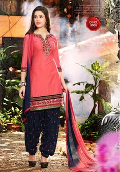 Peach & Navy Blue Unstitch Pure Cotton Suit With Chiffon Dupatta Ladies Salwar Kameez, Patiala Salwar Suits, Cotton Salwar Kameez, Salwar Suits Online, Punjabi Suits, Kurti, Cotton Suit, Cotton Fabric, Traditional Fashion