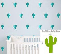 50 pcs Cactus Kids Room Wall Stickers Nursery Decor Decal Art Mural Removable Vinyl Wall Stickers adesivo de parede D493