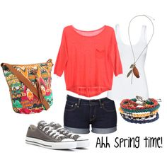 Spring clothes :)) This outfit would look cute with the salmon colored jean jacket I pinned earlier