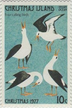 ◙ Christmas Island, Postage Stamp, The Twelve Days of Christmas, Calling Birds. ◙