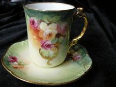 "STUNNING 1901 ""Jelinik"" Signed ROSES & GOLD SCROLL T&V Limoges Chocolate Cup & Saucer Set #2"