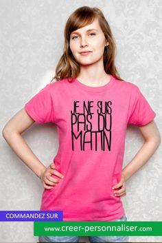 """tee shirt imprimé femme """"je ne suis pas du matin"""". Comme beaucoup d'entre nous !  #pasdumatin #teeshirt #mode #impression"""
