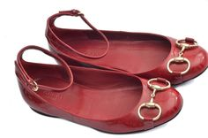 Gucci Red Patent Leather Horsebit Ballet Flats 36