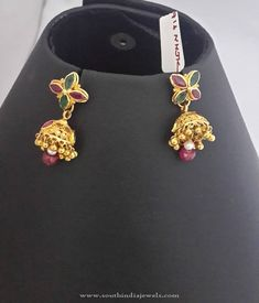 Gold Baby Jhumka Designs, Latest Godl Baby Jhumka Models, Gold Baby Jhumka 2016 Collections. Gold Jhumka Earrings, Indian Jewelry Earrings, Small Earrings, Bridal Jewelry, Gold Necklace, Gold Ring Designs, Gold Earrings Designs, Gold Jewellery Design, Gold Jewelry