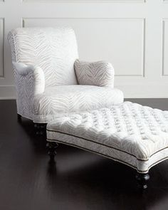 Colleen Chair & Tufted Ottoman by Old Hickory Tannery at Horchow.