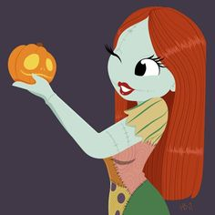 Sally by Hollie Ballard, Sally holding jack-faced pumpkin