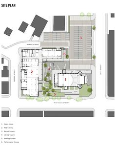 Image 23 of 28 from gallery of Orillia Public Library / Perkins+Will. Photograph by Perkins+Will Library Architecture, Architecture Design, Public Library Design, Library Plan, Architect Drawing, Glass Balustrade, Contemporary Building, Glass Facades, Ground Floor Plan