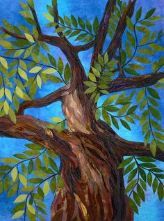 """ Branching Out"" by Elaine Quehl. She has managed to capture the grandeur and imposing scale of the tree in a small space: the entire quilt is only 20 x 28""."