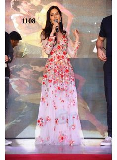 Katrina Red Rose Multi Work Semi Stitched Gown