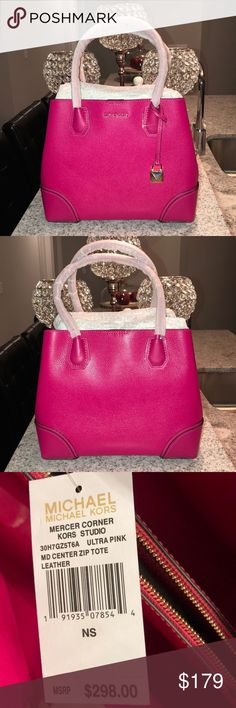 83b0757e18 BNWT MICHAEL KORS CENTER ZIPPER TOTE BNWT MICHAEL KORS MERCER STUDIO MEDIUM  CENTER ZIP TOTE WITH SHOULDER STRAP Michael Kors Bags Totes