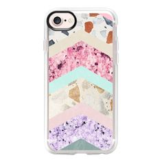 Modern pastel pink lavender color block marble chevron - iPhone 7 Case... ($40) ❤ liked on Polyvore featuring accessories, tech accessories, phone cases, phone, iphone case, iphone cover case, apple iphone case, clear iphone case, pink iphone case and iphone cases