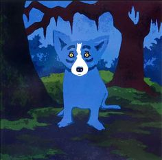 It's hard to choose a favorite blue dog painting, but this is one of them.