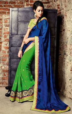 Picturesque Parrot Green and Midnight Blue #Saree