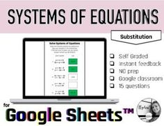 Solve Systems of Equations by substitution self check sheet for Google™ Great for Distance learning.