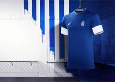 NIKE, Inc. - Greek national team head to the pitch in new Nike kit Football Shirts, Sports Shirts, Fifa, Sport Wear, Home And Away, Pitch, Wetsuit, Greece, Swimwear