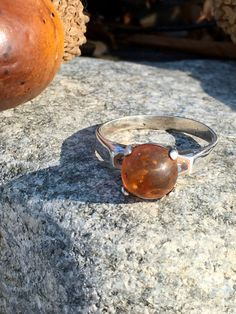 Baltic Amber Sterling Silver Ring SZ 7.5 Stackable Solitaire Ring Gypsy Boho Soul Jewelry Round Prong Set Honey Amber Stone