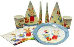 Make your child's special day a BabyFirst Birthday! Official party supplies featuring popular characters Harry the Bunny, Peekaboo, VocabuLarry and Blossom. This basic party pack includes 8 plates, cups, hats, horns and napkins – all conveniently packaged in one box. Everything you need for your little one's first birthday.