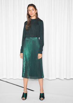 Other Stories image 2 of Emerald Metallic Pleats Skirt in Green