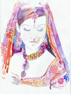 Archival Prints - Watercolour Fashion Illustration by Cate Parr - Watercolor Indian Bride, Indian Fashion Print Art And Illustration, Portrait Illustration, Illustration Fashion, Watercolour Illustration, Fashion Illustrations, Illustrations Posters, Watercolor Fashion, Watercolor Art, Ancient World History