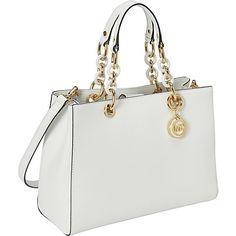 MICHAEL Michael Kors Cynthia Medium Satchel Optic White - MICHAEL Michael Kors Designer Handbags