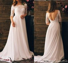 2020 Sexy V Backless Bohemian Wedding Dresses With Illusion Half Sleeves Chiffon Lace Scoop Neck Vestido De Novia Wedding Dress Bridal Gowns Wedding Dresses Inland Empire Empire Lace Wedding Dresses From Stunningdress88, $79.9| DHgate.Com Bohemian Wedding Dresses, Bridal Dresses, Lace Wedding, Half Sleeves, Illusion, Empire, Backless, Scoop Neck, Chiffon