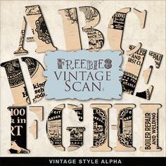 Far Far Hill - Free database of digital illustrations and papers: Freebies Vintage Style Alpha