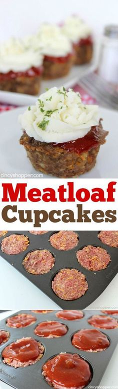 Meatloaf Cupcakes -Super fun twist on traditional meatloaf. Serve these mashed potato topped meatloaves for family dinner or great for a crowd.: