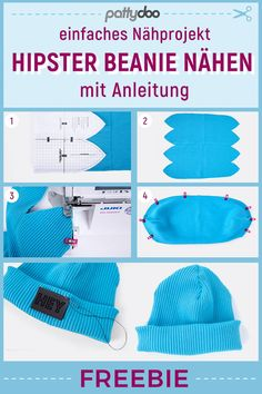 Sewing Hipster Beanie by yourself - Freebie sewing pattern with sewing instructions: simple . Sewing Hipster Beanie - Freebie sewing pattern with sewing instructions: easy sewing project for sewing beginners, perfect for rib-ribbing and coarse . Sombrero Hipster, Hipster Beanie, Easy Sewing Projects, Sewing Projects For Beginners, Knitting For Beginners, Sewing Tips, Sewing Patterns Free, Free Sewing, Crochet Blanket Patterns