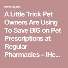 A Little Trick Pet Owners Are Using To Save BIG on Pet Prescriptions at Regular Pharmacies – iHeartDogs.com