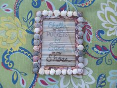 Seashell frame hand embroidered beach quote love by Stitchallday, $25.00