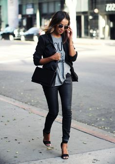 SINCERELY JULES 'Yes to Love' tee, PAIGE DENIM leather skinny jeans + blazer, GIVENCHY 'Lace and Leather' heels