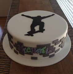 Simple Skateboard Cake For My Son Turning 7  Kids Cakes cakepins.com