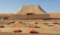The restaurant tent at the Erg Chegaga Luxury Desert Camp in Sahara desert, Morocco Luxury Glamping, Outdoor Furniture, Outdoor Decor, Live Life, Morocco, Tent, Outdoor Living, Travel Destinations, Exotic