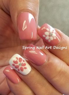 So when choosing designs for your nail art to coordinate with your everyday clothes and spring dance dresses, see Cutepolish's beautiful and fast Spring flower nail designs. Flower Nail Designs, Flower Nail Art, Nail Designs Spring, Nail Art Designs, Spring Nail Colors, Spring Nail Art, Spring Nails, Summer Nails, Nail Art Modele